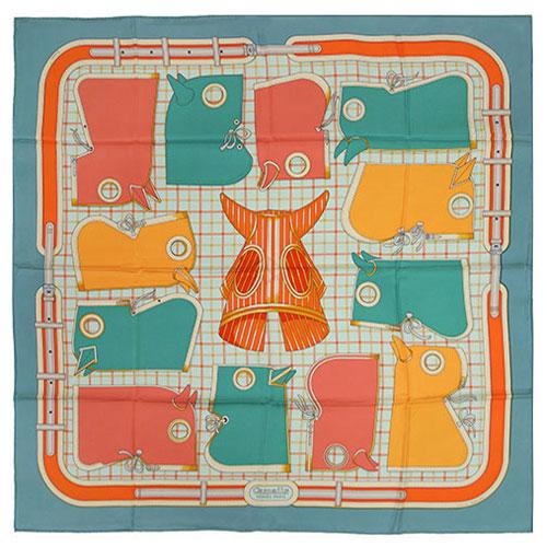 エルメス スカーフ HERMES ソルド カレ ツイル シルク100% 90CMS Camails グリーングレー/サーモン/オレンジ 261017 あす楽対応