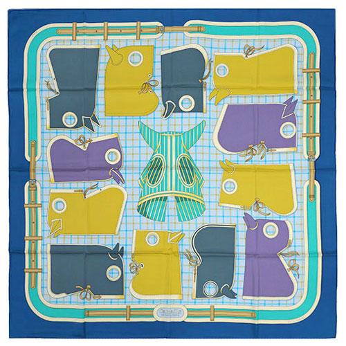 エルメス スカーフ HERMES ソルド カレ 90CMS ツイル シルク100% Camails ブルー/オリーブ/モーブ 261021 わけありセール キャッシュレスで5%還元!