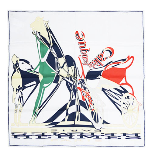 エルメス スカーフ H982255S04 ソルド カレ ヴィンテージ 70CM シルク100% CALECHE ELASTIQUE ホワイト/ルージュ/グリーン