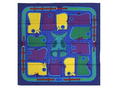 エルメス スカーフ HERMES ソルド カレ ツイル シルク100% 90CMS Camails ネイビー/イエロー/グリーン 261018 あす楽対応