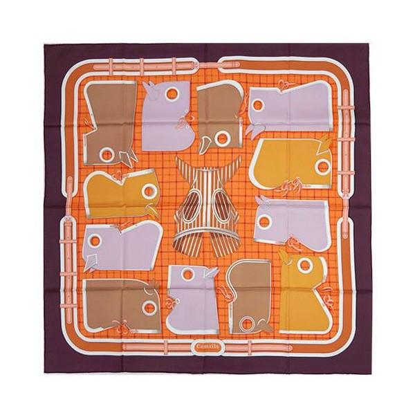 エルメス スカーフ ソルド カレ ツイル シルク100% 90CMS Camails ナス/オレンジ/ヴィオリーヌ 261020