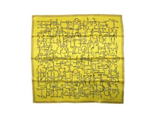 エルメス スカーフ ソルド カレ ヴィンテージ 70CM シルク100% Collection Equestre イエロー/ベージュ 24819
