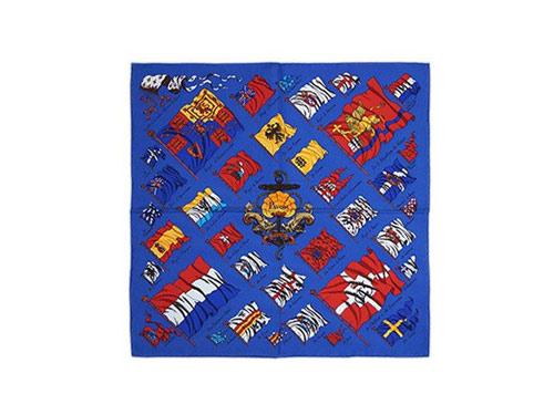 エルメス スカーフ H891411S30  ソルド ミニスカーフ カレ 45 GAVROCHE TWILL PAVOIS シルク100% ブルー/レッド/イエロー あす楽対応