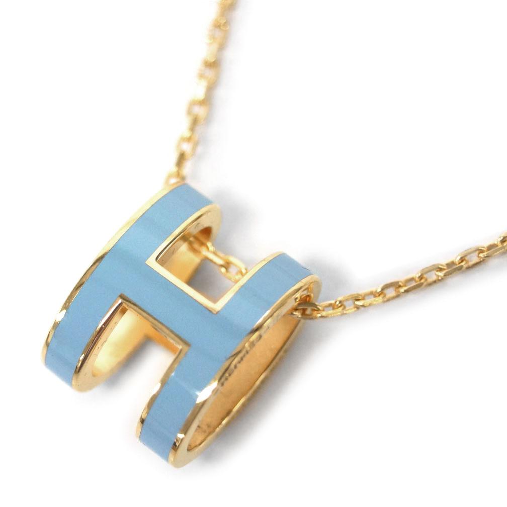 エルメス ネックレス H147991F04 HERMES ペンダント ポップ アッシュ ブルー・パステル ゴールド金具 あす楽対応