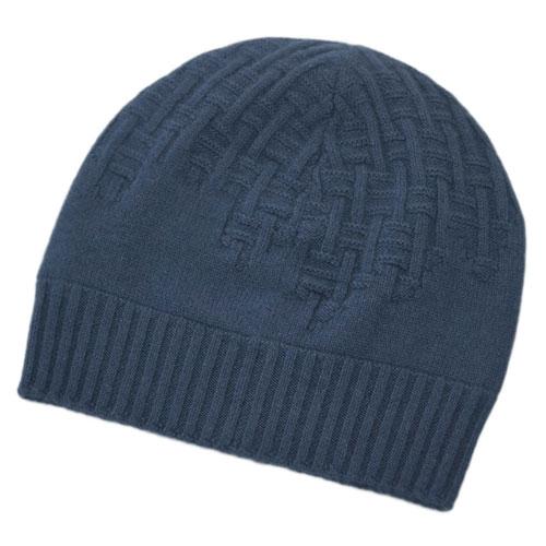 エルメス 帽子 H172005N72 HERMES ソルド メンズ ニットキャップ PACO カシミア100% H ENTREMELES BLUE PILOTE ダークブルー あす楽対応