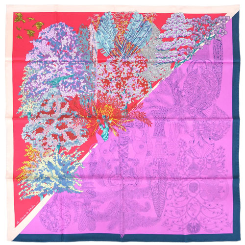 エルメス スカーフ H003057S02 HERMES ソルド カレ シルク100% 90CMS LES LEGENDES DE L'ARBRE COLORIAG ローズ・ヴィフ/フランボワーズ/ブルー 30d24 あす楽対応