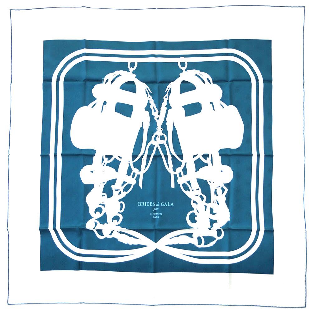 エルメス スカーフ H173129S04 HERMES ソルド カレ・タトゥアージュ 90CM ツイル シルク100% ABEILLES BRIDES DE GALA TATOO ペトロール/ホワイト 31201 あす楽対応