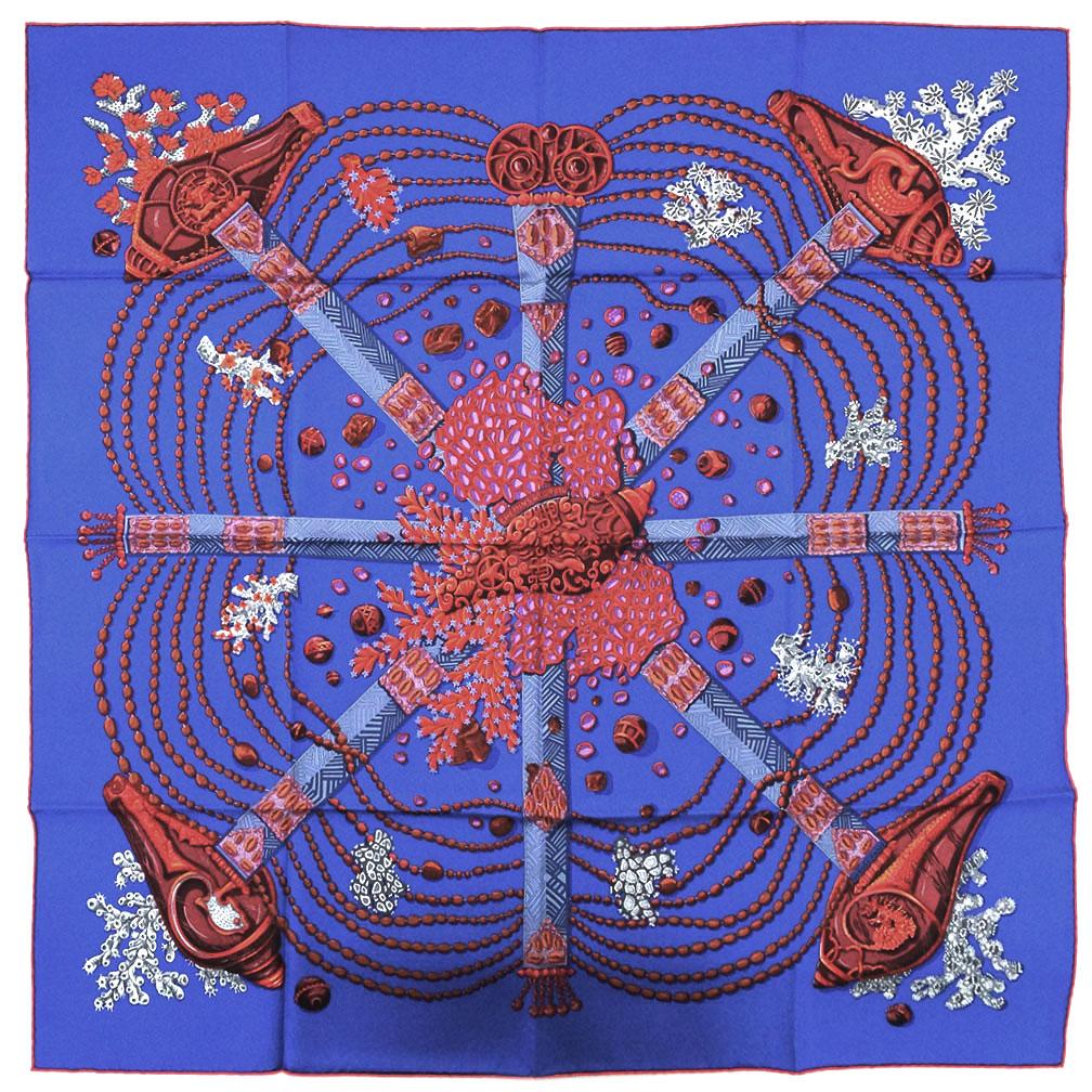 エルメス スカーフ H002207S12 HERMES ソルド カレ ツイル シルク100% 90CMS CHEMINS DE CORAIL ブルーロイヤル/ブルーグレー/ルージュ 31206 あす楽対応