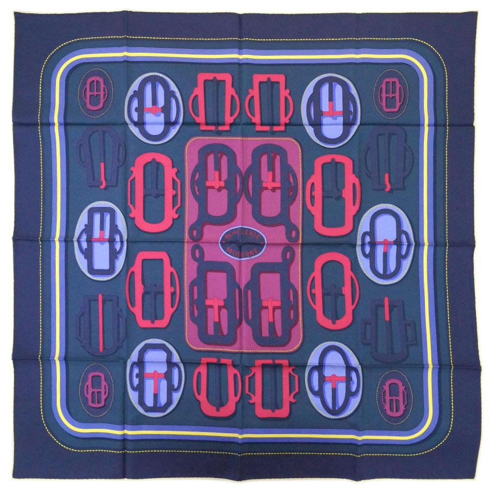 エルメス スカーフ H003106S01 HERMES ソルド カレ ツイル シルク100% 90CMS BOUCLERIE MODERNE マリーヌ/アントラシット/フランボワーズ 31207 あす楽対応