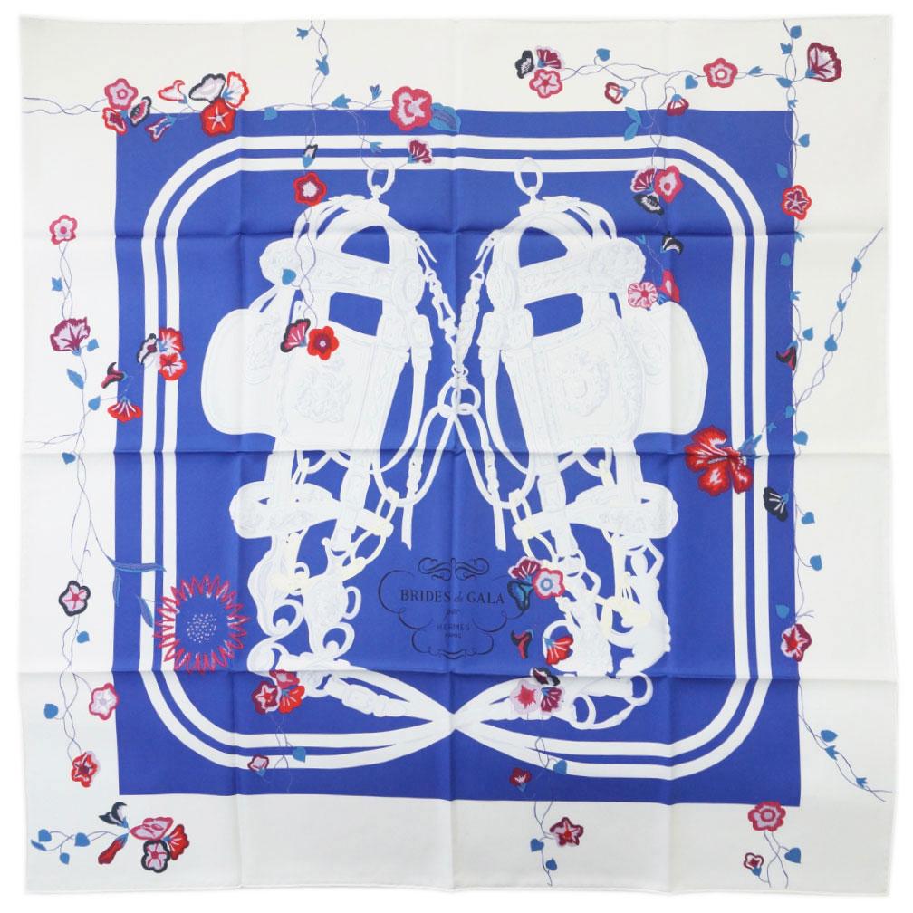 エルメス スカーフ H003099S16 HERMES ソルド カレ ツイル シルク100% 90CMS BRIDES FLEURIES ロイヤルブルー/ホワイト/ルージュ 31224 わけありセール あす楽対応