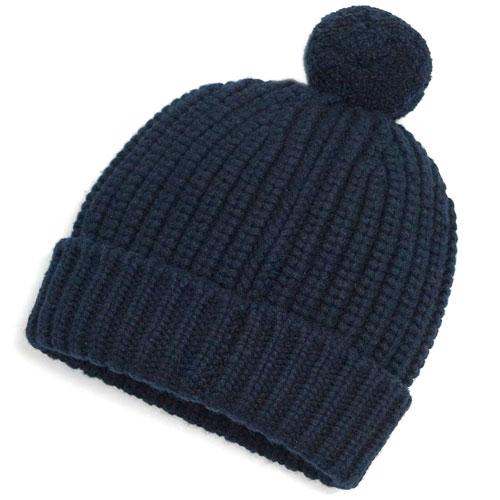 エルメス 帽子 H448540HA01 HERMES ソルド ニットキャップ カシミア100% AVEC POMPON COTE ANGLAISE MARINE マリーヌ ネイビー