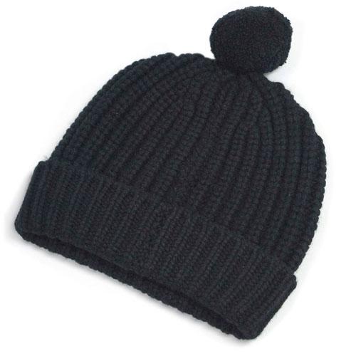 エルメス 帽子 H448540HA02 HERMES ソルド ニットキャップ カシミア100% AVEC POMPON COTE ANGLAISE NOIR ノワール ブラック
