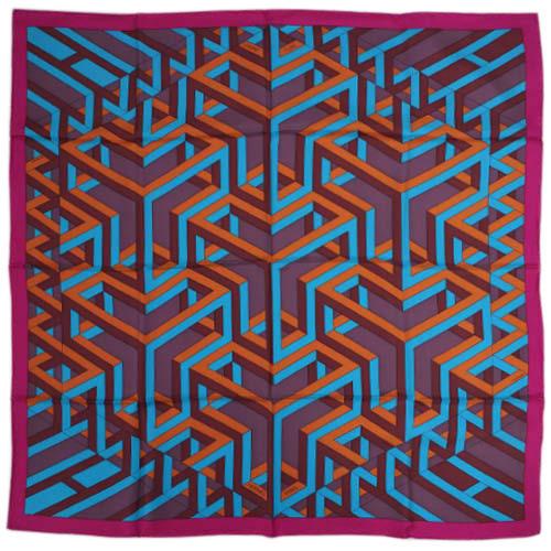 エルメス スカーフ HERMES ソルド カレ 90CMS ツイル シルク100% CARRE CUBE ピンク/ターコイズ/ルイユ 29103