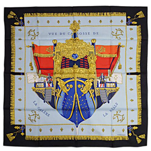 エルメス スカーフ HERMES ソルド カレ ツイル シルク100% 90CMS VUE DU CAROSSE DE ブラック/ブルー/ルージュ 29123 あす楽対応