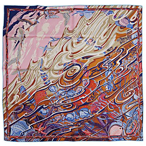 エルメス スカーフ HERMES ソルド カレ ツイル シルク100% 90CMS DE LA MER AU CIEL マロン/ローズピンク/ブルー 29130 あす楽対応
