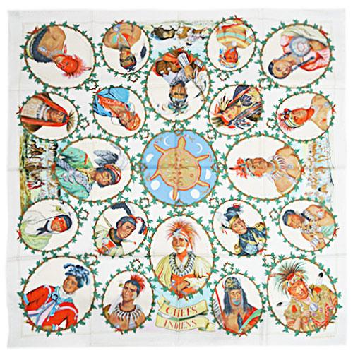 エルメス スカーフ HERMES ソルド カレ ツイル シルク100% 90CMS CHEPS INDIENS ホワイト/グリーン/ルージュ 29138 あす楽対応