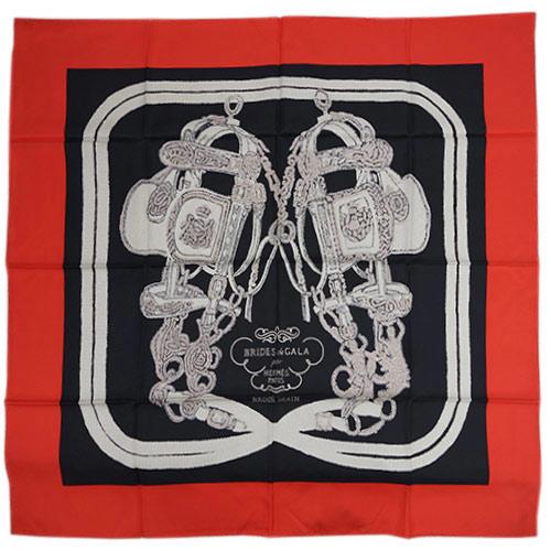 エルメス スカーフ HERMES ソルド カレ ツイル シルク100% 90CMS BRIDES DE GALA BRODE ルージュ/ノワール/クレーム 29141 あす楽対応