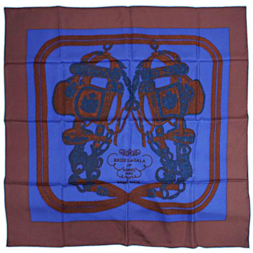 エルメス スカーフ HERMES ソルド カレ ツイル シルク100% 90CMS BRIDES DE GALA BRODE ブルー/ブラウン/ターコイズブルー 29142 わけありセール あす楽対応