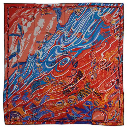 エルメス スカーフ HERMES ソルド カレ ツイル シルク100% 90CMS DE LA MER AU CIEL ネイビー/サーモン/ブルー 29171 あす楽対応