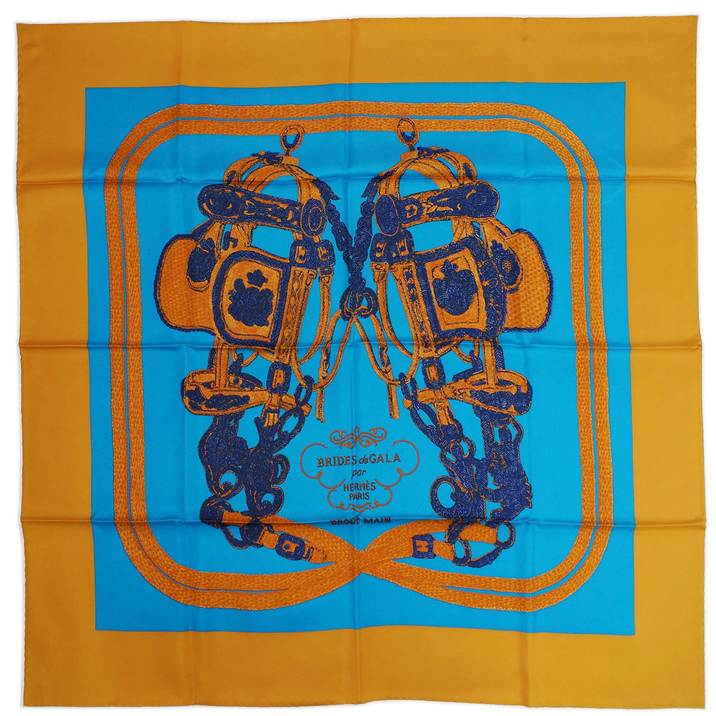 エルメス スカーフ HERMES ソルド カレ ツイル シルク100% 90CMS BRIDES DE GALA BRODE キャラメル/コバルト/ネイビー 29195 あす楽対応