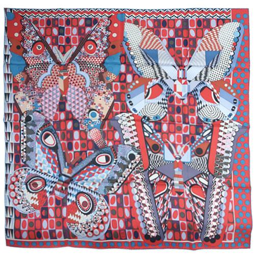 エルメス スカーフ HERMES ソルド カレ ツイル シルク100% 90CMS LES AILES DE LA SOIE レンガ/ブルー/パルム 29207 あす楽対応