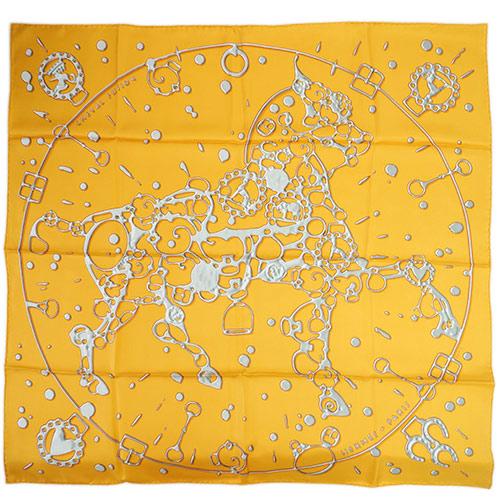 エルメス スカーフ HERMES ソルド カレ ツイル シルク100% 90CMS CHEVAL FUSION オレンジ/グレー 29210 あす楽対応