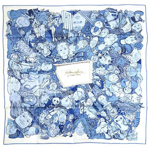 エルメス スカーフ HERMES ソルド カレ ツイル シルク100% 90CMS METAMORPHOSES PAR PARIS ホワイト/ブルー/スカイブルー 29257 わけありセール あす楽対応