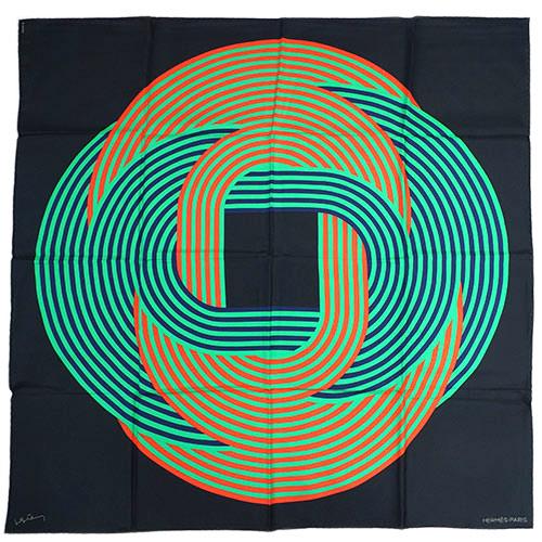 エルメス スカーフ HERMES ソルド カレ ツイル シルク100% 90CMS MAILLONS DE JOEL STEIN ブラック/グリーン/ルージュ 29267 あす楽対応