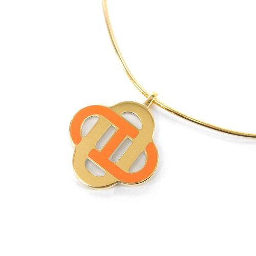 HERMES エルメス ネックレス H143002F07 ソルド チョーカー イザティス ORANGE H オレンジ ゴールド金具