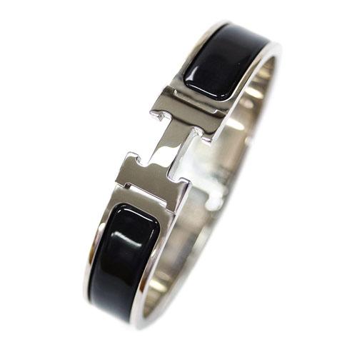 HERMES エルメス ブレスレット H700001FP01 アクセサリー バングル クリック アッシュ ノワール ブラック シルバー金具 PMサイズ