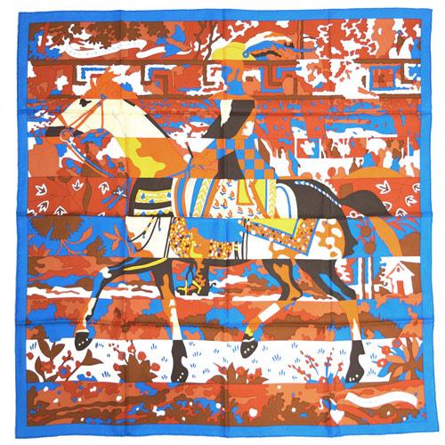 エルメス スカーフ HERMES ソルド カレ 90CMS ツイル シルク100% LES DIX CAVALIERS ブルー・ジターヌ/シナモン/ホワイト 29340