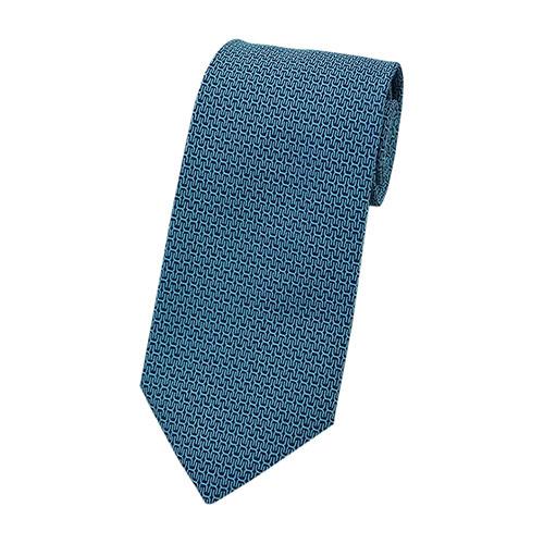 エルメス ネクタイ 659181T HERMES ソルド メンズ ジャガード デザイン シルク100% ネイビー/ターコイズ 30736 あす楽対応