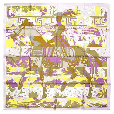 エルメス スカーフ HERMES 90x90 シルク100% LES DIX CAVALIERS パウダーピンク/カーキ/イエロー 12111