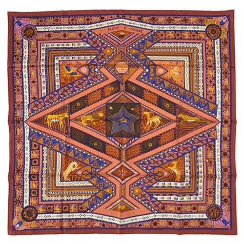 エルメス スカーフ HERMES ソルド カレ ツイル シルク100% 90CMS ORS BLEUS D'AFRIQUE アンバー/ローズ/ブルー 27443