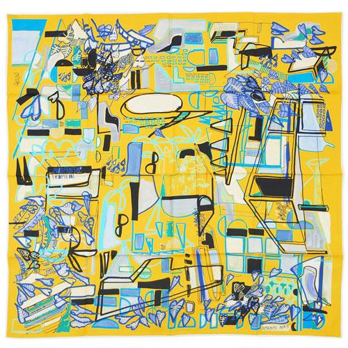 エルメス スカーフ H002974S01 HERMES ソルド カレ 90CMS ツイル シルク100% MODERNISME TROPICAL ビビッドイエロー/ブルー/パルム 30518 あす楽対応