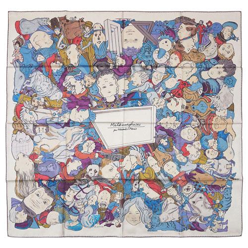 エルメス スカーフ HERMES ソルド カレ ツイル シルク100% 90CMS METAMORPHOSES PAR PARIS セピア/バイオレット/ブルー 30520 あす楽対応