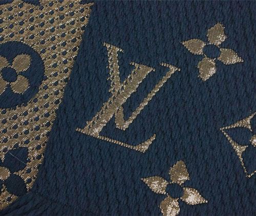 ルイヴィトン マフラー M70815 LOUIS VUITTON ヴィトン LV エシャルプ・ロゴマニア シャイン  ウール/シルク ブルーペトロール あす楽対応