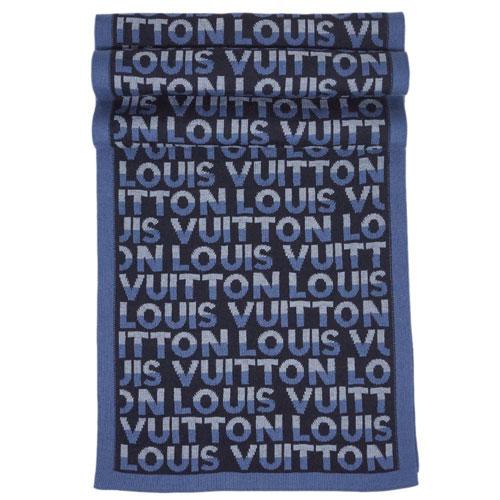 【最大2,500円引CP】ルイヴィトン マフラー M70910 LOUIS VUITTON ヴィトン LV メンズ エシャルプ・LVスプリット ウール100% ブルー 専用箱付き【R2/8/31 18時迄】