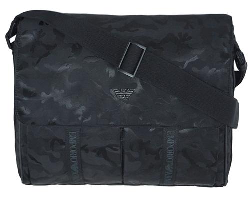ハロウィン クーポン祭 アルマーニ バッグ Y4M017 メンズ エンポリオ アルマーニ メッセンジャーバッグ イーグルプレート カモフラージュ NERO ブラック 30011