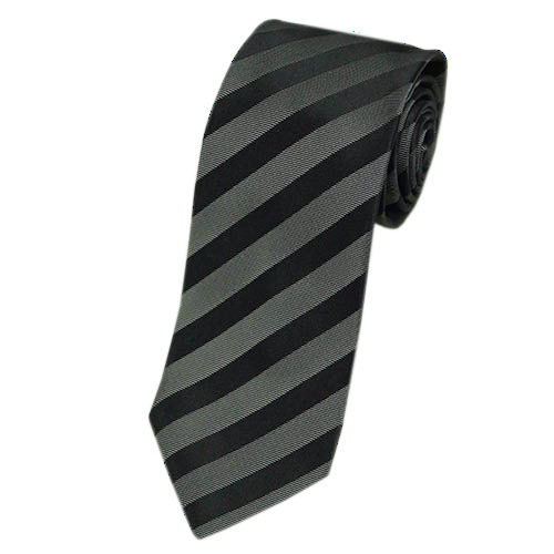 ヒューゴ・ボス ネクタイ メンズ ジャガード ストライプ シルク100% ブラック/グレー 17017 アウトレット
