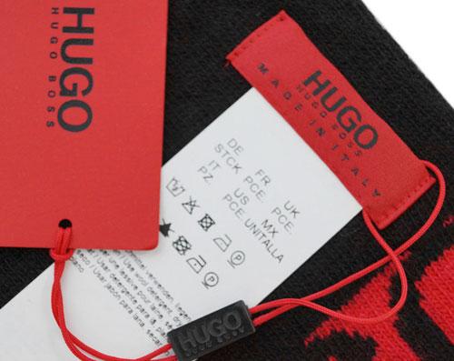 ヒューゴ・ボス マフラー 50395277 HUGO BOSS ボス メンズ ロゴ ブラック レッド 19071 アウトレットxWdoreCB