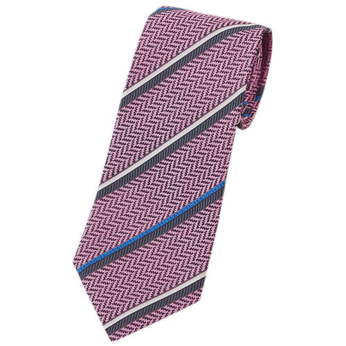 ミッソーニ ネクタイ MISSONI メンズ ジャガード デザイン ストライプ シルク100% ピンク/ブルー/グレー/シルバーグレー 30102 アウトレット あす楽対応