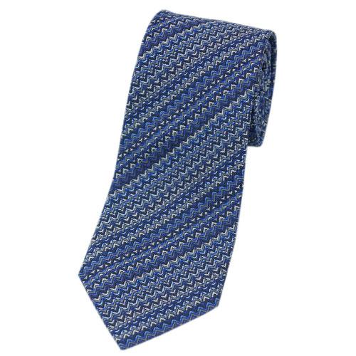 ミッソーニ ネクタイ MISSONI メンズ ジャガード デザイン ストライプ シルク100% ブルー/ネイビー/グレー 30502 アウトレット あす楽対応