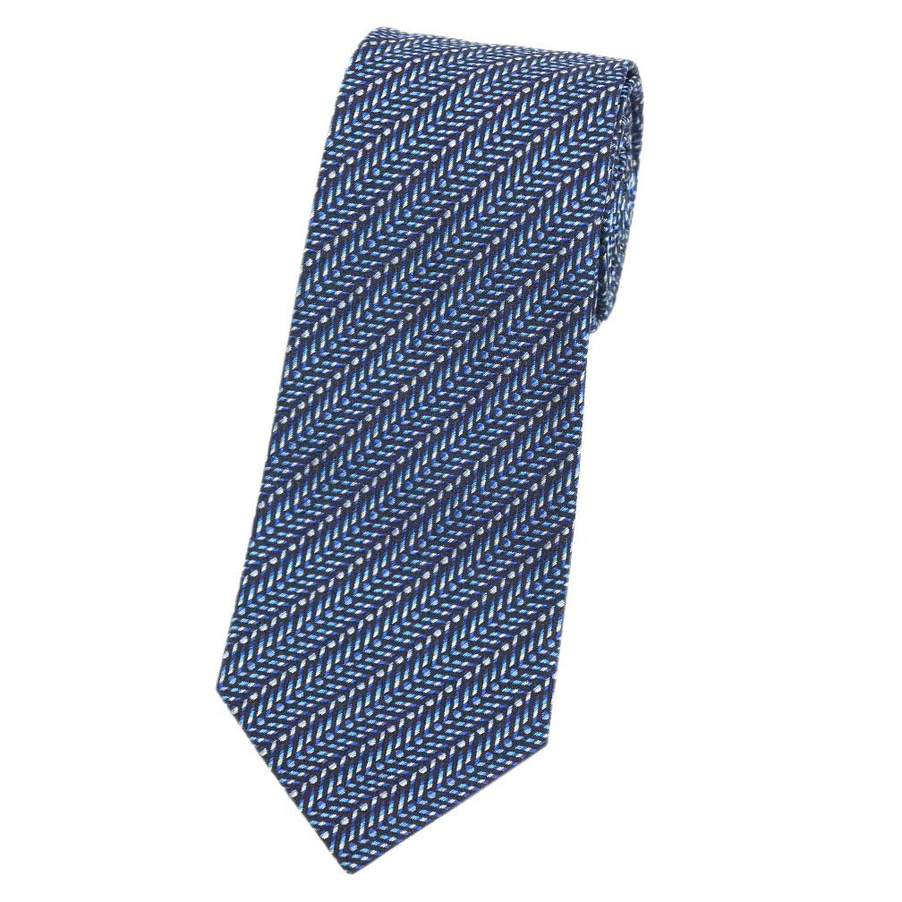 ミッソーニ ネクタイ MISSONI メンズ ジャガード デザイン シルク100% ネイビー/ブルー 31121 アウトレット キャッシュレスで5%還元!