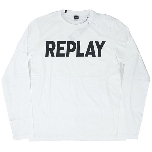 リプレイ Tシャツ M3330S REPLAY メンズ 長袖 リプレイ 長袖 丸首 REPLAY XLサイズ ロゴプリント ホワイト/ブラック XLサイズ 30111 あす楽対応, 小坂町:e7029b27 --- officewill.xsrv.jp