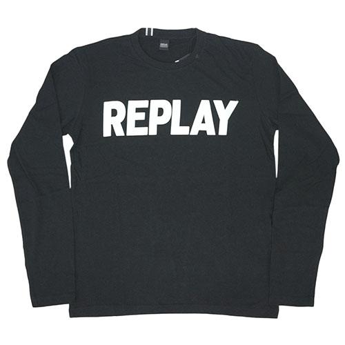 リプレイ Tシャツ M3330S M3330S REPLAY REPLAY メンズ 長袖 丸首 REPLAY リプレイ ロゴプリント ブラック/ホワイト Mサイズ 30112 あす楽対応, 臼杵市:717753e4 --- officewill.xsrv.jp