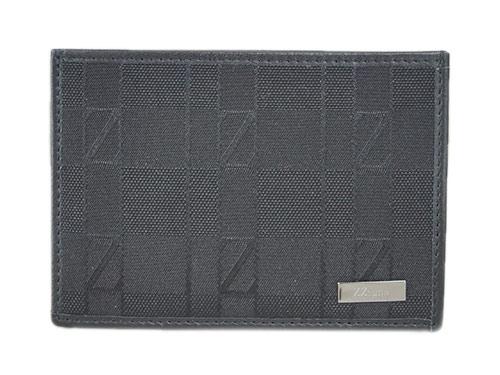 ゼニア カードケース E0573A Z Zegna ジー・ゼニア メンズ シンプル  名刺入れ ロゴプレート キャンバス/レザー ブラック アウトレット