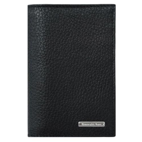 ゼニア 財布 エルメネジルド・ゼニア メンズ たて型 二つ折り 札入れ カードケース SVロゴプレート 型押しカーフ ブラック 30103 アウトレット あす楽対応