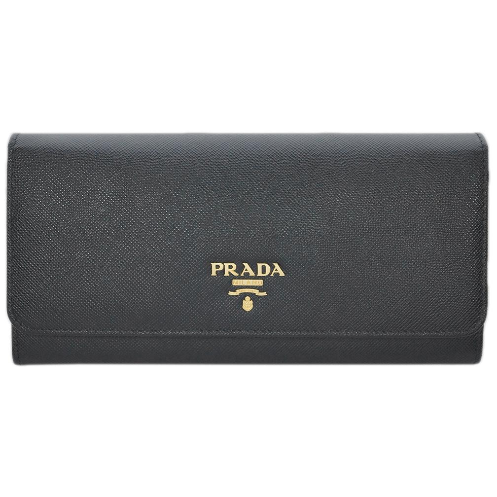 プラダ 1M1132 財布 長財布 ファスナー長札 サッフィアーノ ネロ ブラック ゴールドロゴ あす楽対応
