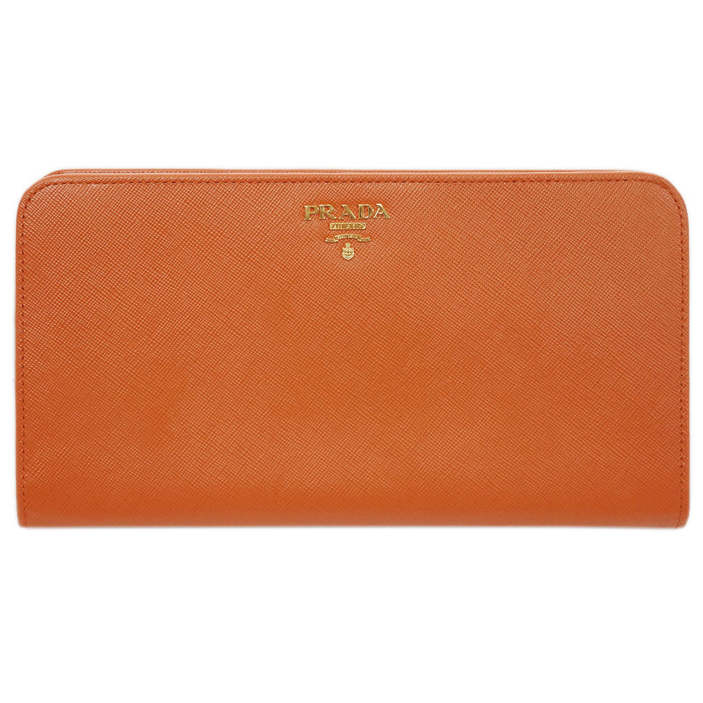 プラダ 財布 1MD316 PRADA 二つ折り 長財布 サッフィアーノ PAPAYA パパヤ カーフパパイアオレンジ アウトレット